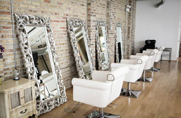 Brick wallpaper salon ideas